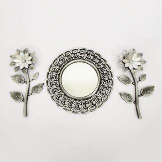 set-espejo-de-pared-39cm-eslabones-con-flores-plateado-y-negro-7701016124676