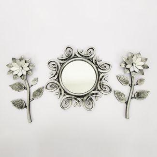 set-espejo-de-pared-39cm-con-flores-plateado-y-negro-7701016124683