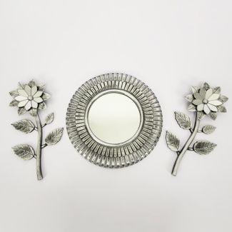 set-espejo-de-pared-40cm-rueda-con-flores-plateado-y-negro-7701016124706