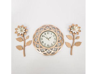 set-reloj-de-pared-39cm-ondas-con-flores-oro-rosa-7701016124737