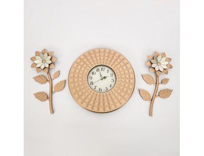 set-reloj-de-pared-39cm-texturas-con-flores-oro-rosa-7701016124744