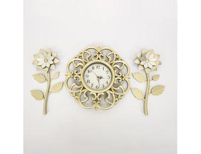 set-reloj-de-pared-39cm-arabescos-con-flores-champagne-7701016124751