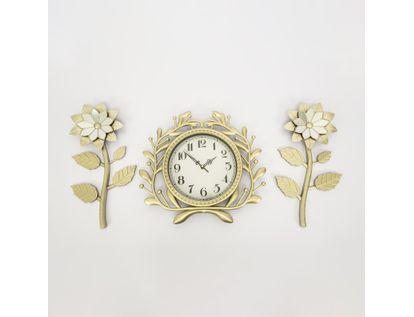set-reloj-de-pared-39cm-ramas-con-flores-champagne-7701016124768