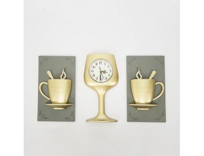 set-reloj-de-pared-copa-con-cuadros-tazas-de-cafe-champagne-7701016124812