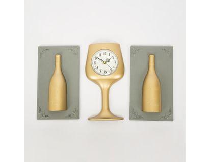 set-reloj-de-pared-copa-con-cuadros-botellas-champagne-7701016124843
