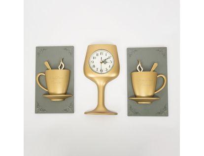 set-reloj-de-pared-copa-con-cuadros-tazas-champagne-7701016124850
