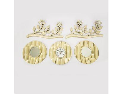 set-reloj-de-pared-25cm-con-espejos-y-ramas-champagne-7701016124874