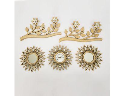 set-reloj-de-pared-25cm-sol-con-espejos-y-ramas-champagne-7701016124898