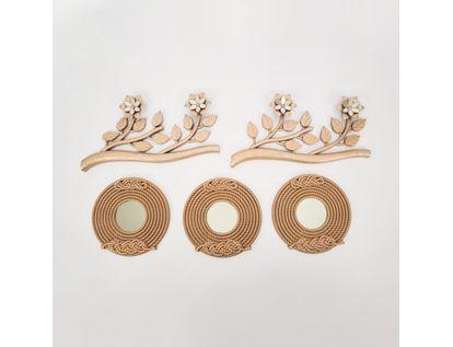 set-x3-espejos-de-pared-22cm-trenzados-con-ramas-oro-rosa-7701016124911