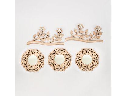 set-x3-espejos-de-pared-24cm-arabescos-con-ramas-oro-rosa-7701016124973