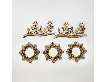 set-x3-espejos-de-pared-23-5cm-arabescos-con-ramas-dorado-y-negro-7701016125000