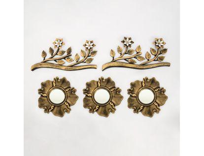 set-x3-espejos-de-pared-24cm-lineas-con-ramas-dorado-y-negro-7701016125017