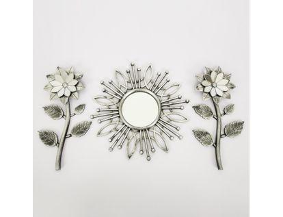set-espejo-de-pared-39cm-con-flores-plateado-y-negro-7701016124690