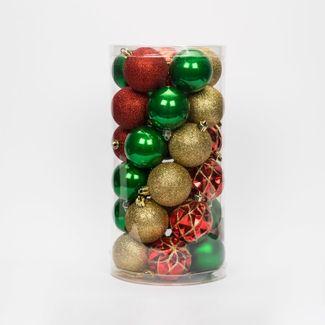 set-de-bolas-escarchadas-6cm-x30-unidades-verde-rojo-y-dorado-7701016164337