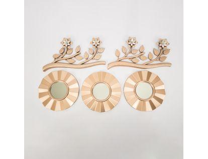 set-x3-espejos-de-pared-25-5cm-ondas-con-ramas-oro-rosa-7701016124928